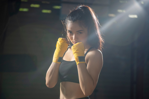 Muay Thai Girl Determined During Pandemic